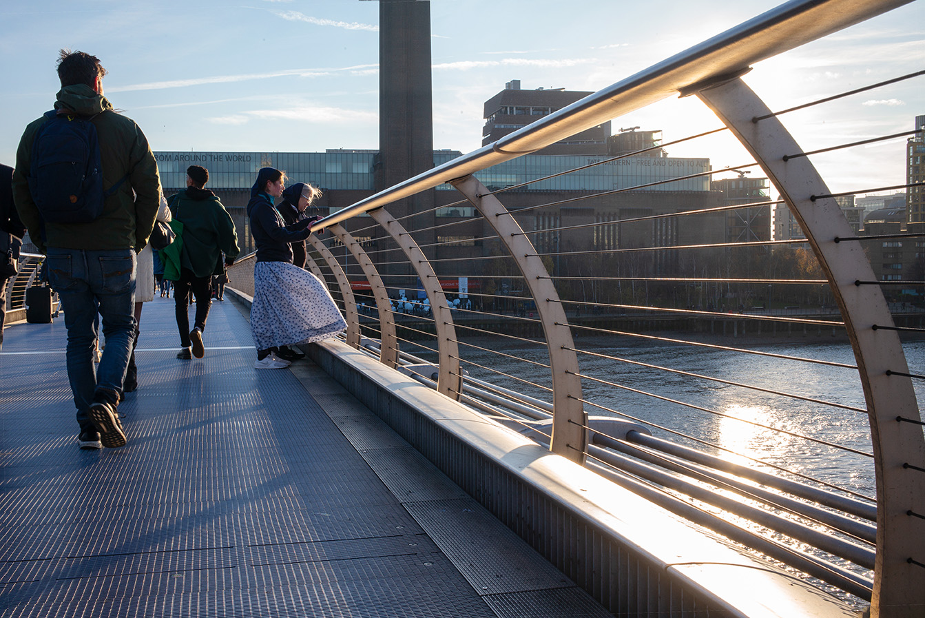 On the Millennium Bridge in London