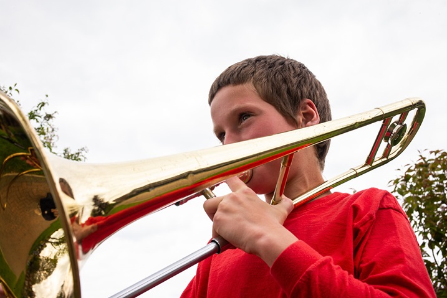 Trombone player at the Darvell Bruderhof