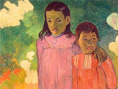 two children in a painting from Paul Gauguin
