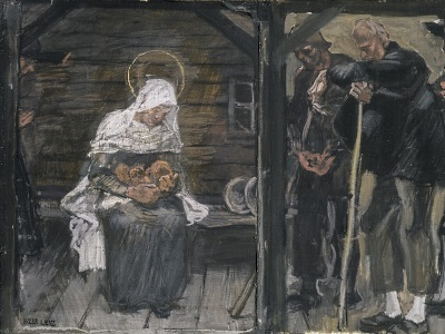 painting of shepherds at the manger