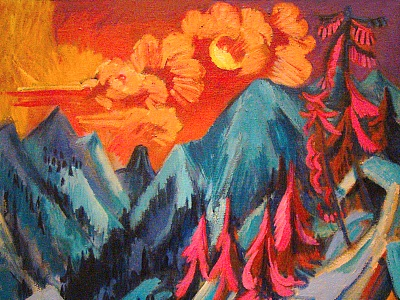 painting of sun over mountains