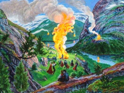 painting of midsummers eve bonfire with dancers