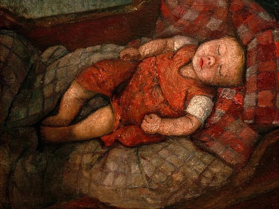 painting of a child sleeping by Paula Modersohn