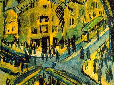 expressionist painting of buses and people at an intersection
