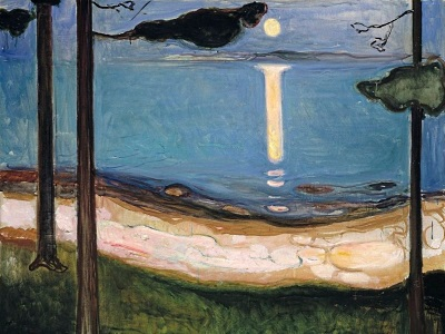 painting of a lake by moonlight by Edvard Munch