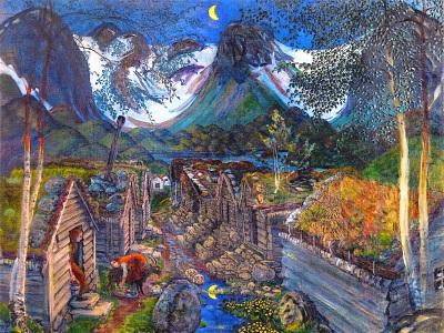 painting of peasant huts