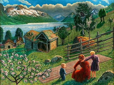 painting of family on their farm