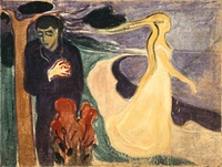 painting of estranged lovers by Edvard Munch