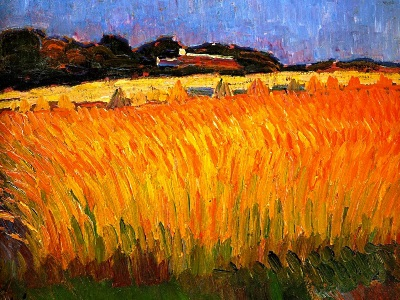 painting of a cornfield