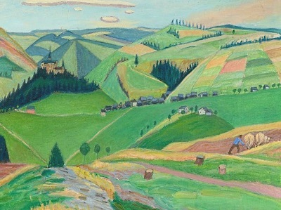 painting of hills in Germany