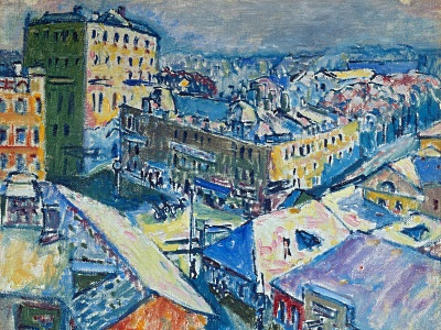 expressionist painting of a city