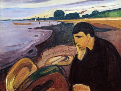 painting of a man on the beach by Munch