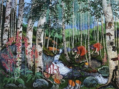 painting of children picking mushrooms in a birch wood