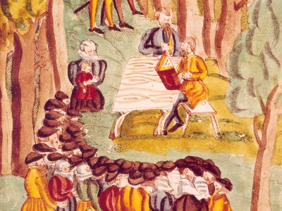 painting of an Anabaptist meeting in the woods