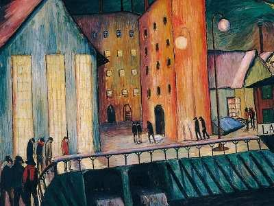 painting of city with factories by Marianne Werefkin
