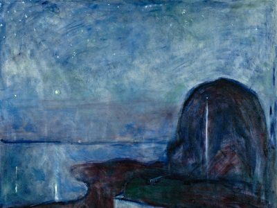painting of a starry sky by Edvard Munch