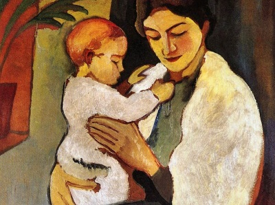 painting of mother and child by Macke