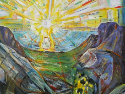 painting of the rising sun by Munch