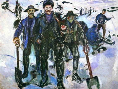 painting of workers in the snow