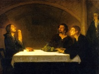 painting of Christ with disciples in Emmaus