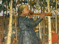 painting of a child blowing an instrument