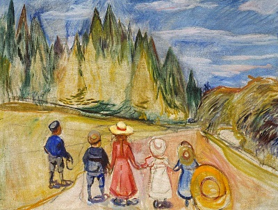 painting of children entering a forest