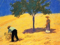 painting of workers harvesting wheat