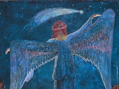 painting of announcing angel and a star